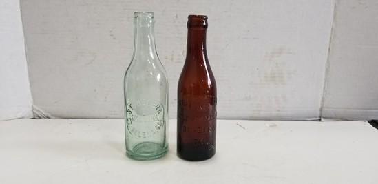 (2) ANTIQUE ST. HELENA SODA & COLD STORAGE GLASS BOTTLES