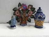 (3) ART POTTERY PIECES - MADE IN MEXICO