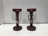 VINTAGE ETCHED GLASS RUBY RED CANDLESTICKS W/ PRISIMS
