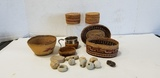 ASSORTED SMALL BASKETS & CLAY BEADS