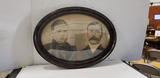 ANTIQUE OVAL TIGERWOOD PICTURE FRAME W/ PICTURE
