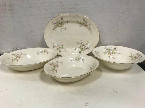 (4) CROWN POTTERIES CERAMIC SERVING DISHES