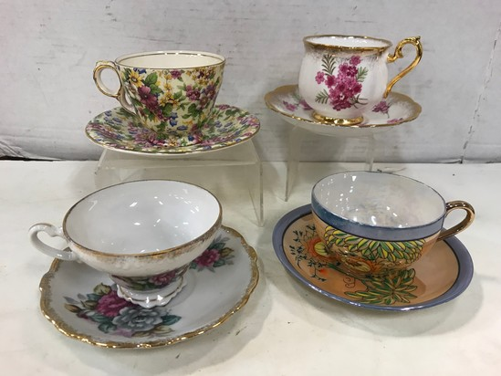 (4) ASSORTED COLLECTOR CUP & SAUCERS
