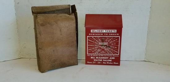 BILL McGANGHY & WAYNE FALLINE NEW WINDSOR IL. STANDARD OIL  DELIVERY TICKET BOX
