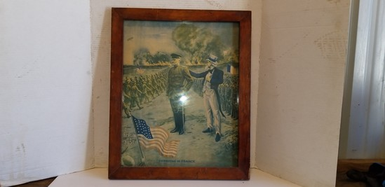 """18"""" X 22"""" FRAMED WAR PICTURE """"PERSHING IN FRANCE"""""""