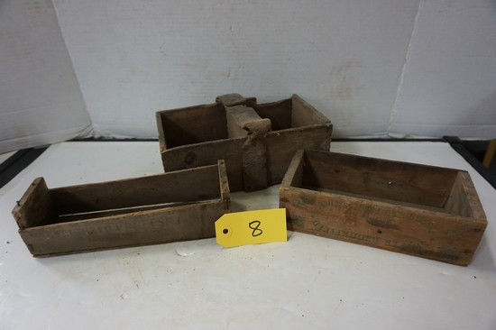 VINTAGE WOODEN CHEESE & YEAST BOXES