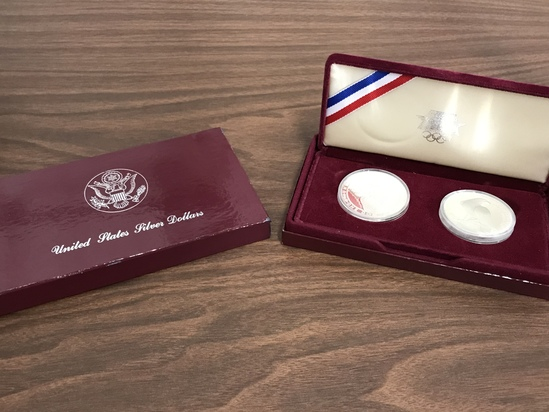 1983 OLYMPIC SILVER DOLLARS IN DISPLLAY BOX