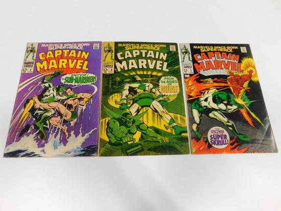 (3) CAPTAIN MARVEL COMIC BOOKS (1968)