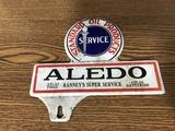 SMALL TIN STANDARD OIL RANNEY'S SUPER SERVICE LICENCE PLATE SIGN - ALEDO, IL