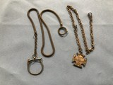 (2) GOLD TONE WATCH FOBS / KEY CHAINS
