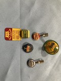 ADVERTISING PIN BACK BUTTON, PENCIL TOPS, TOP & MORE