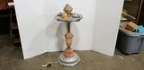 ANTIQUE ART DECO LIGHTED SLAG GLASS SMOKING STAND