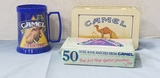 TIN BOX CAMEL MATCHES & BLUE MUG