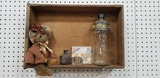 DRAWER W/ ANTIQUE BOTTLES AND BEAR