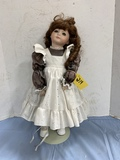 20 IN PORCELAIN DOLL W STAND