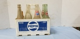(8) ANTIQUE BOTTLES W PEPSI CARRIER