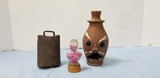 (3)COWBELL LIBERTY CANDY CONTAINER POTTERY FACE VASE