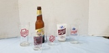 (6) FALSTAFF BOTTLE & GLASSES