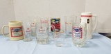 ASSORTED BUDWEISER BEER MUGS & GLASSES
