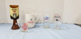 (5) COORS MUGS, GLASSES & CANDLE