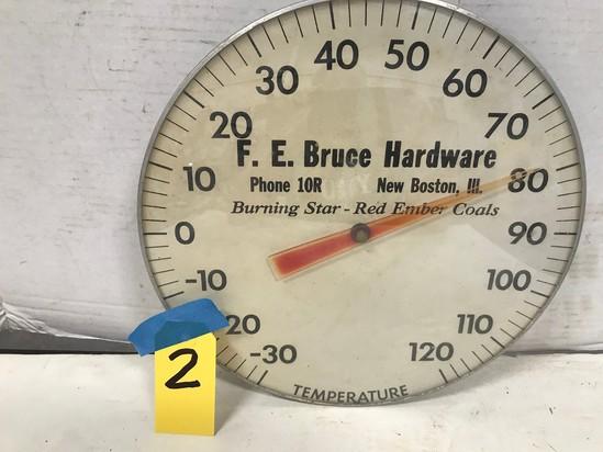 """F.E. BRUCE HARDWARE NEW BOSTON, IL 11"""" OUTDOOR THERMOMETER"""