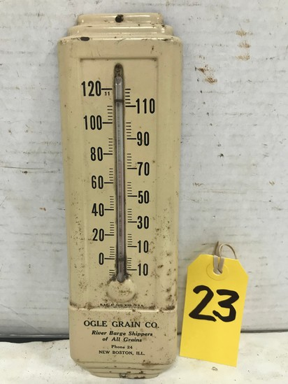 TIN OGLE GRAIN CO NEW BOSTON , IL THERMOMETER