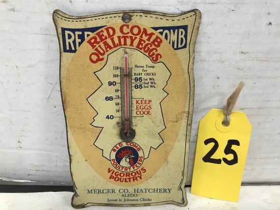 "MERCER CO HATCHERY ""RED COMB QUALITY EGGS"" TIN THERMOMETER"