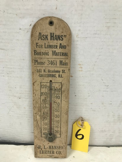 "H.L. HANSEN LUMBER CO ""ASK HANS"" GALESBURG, IL WOOD THERMOMETER"