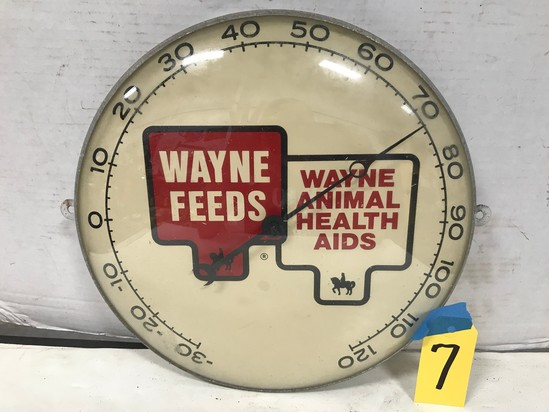 "WAYNE FEEDS ANIMAL HEALTH AIDS 12"" ROUND OUTDOOR THERMOMETER"