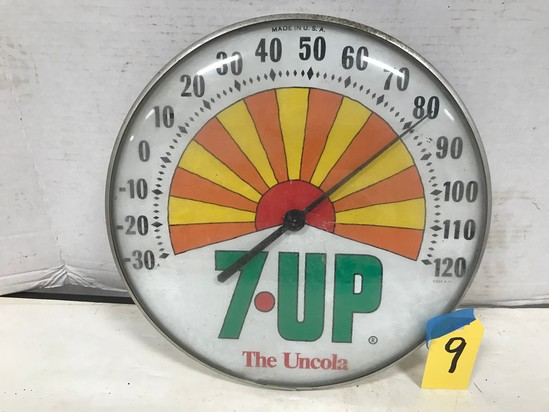 "7 UP THE UNCOLA 12"" ROUND OUTDOOR THERMOMETER"