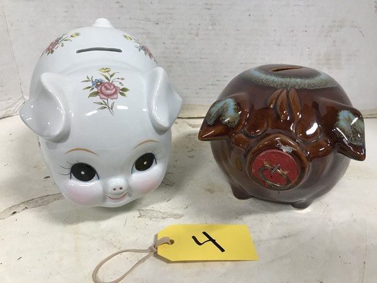 "LEFTON PIGGY BANK & ""CORKY PIG"" STONEWARE PIGGY BANK"