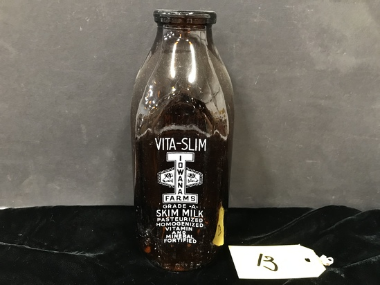 ONE QUART AMBER VITA-SLIM MILK BOTTLE