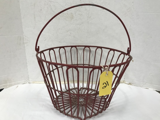 RED METAL EGG BASKET