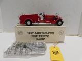 ERTL 1937 AHRENS-FOX DIE CAST FIRETRUCK BANK