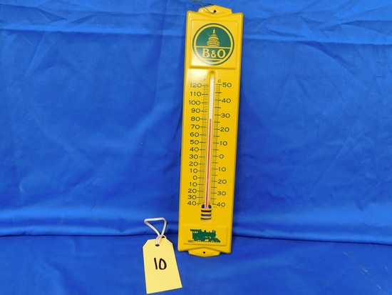 B & O RAILROAD METAL THERMOMETER