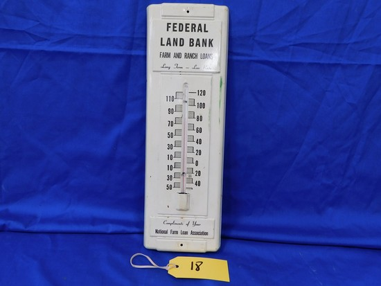 FEDERAL LAND BANK METAL THERMOMETER
