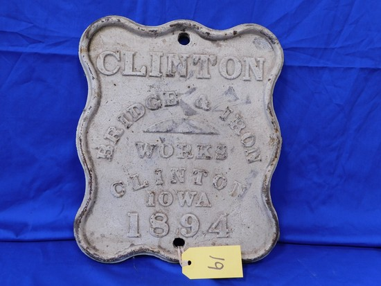 1894 CLINTON BRIDGE CAST IRON PLAQUE