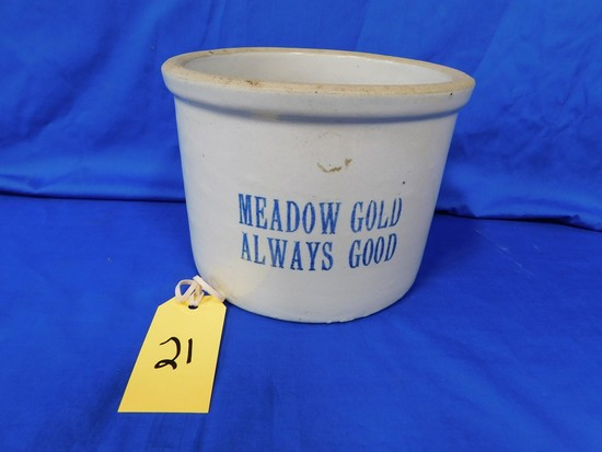 MEADOW GOLD STONEWARE BUTTER CROCK
