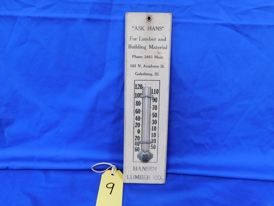 HANSEN LUMBER CO. WOOD THERMOMETER