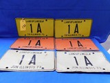 1971, 1972, 1973 ILLINOIS 1A LICENSE PLATES
