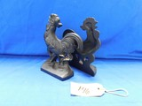 PAIR OF CAST IRON ROOSTER BOOKENDS