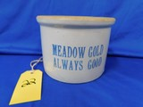 MEADOW GOLD SMALL STONEWARE BUTTER CROCK