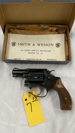 SMITH & WESSON MODEL 36 .38 SPL CAL REVOLVER W/ BOX & PAPERS