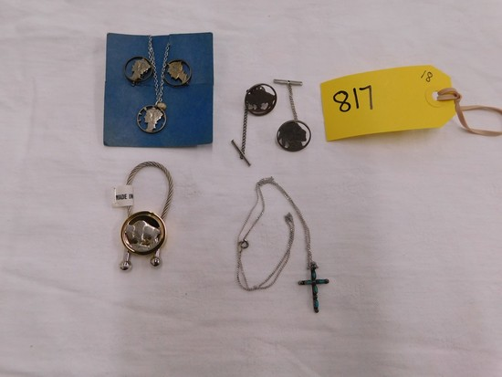 LOT SILVER COIN JEWELRY