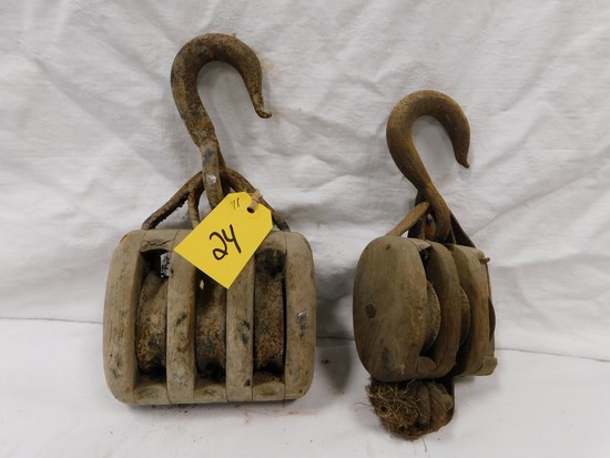 PAIR OF WOODEN BARN PULLEYS