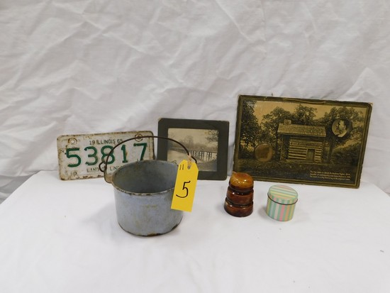 LOT OF HISTORIC PHOTOS, 1965 ILLINOIS LICENSE PLATE & OTHER ITEMS