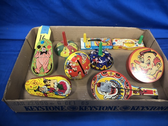 FLAT OF VINTAGE TIN NOISE MAKERS