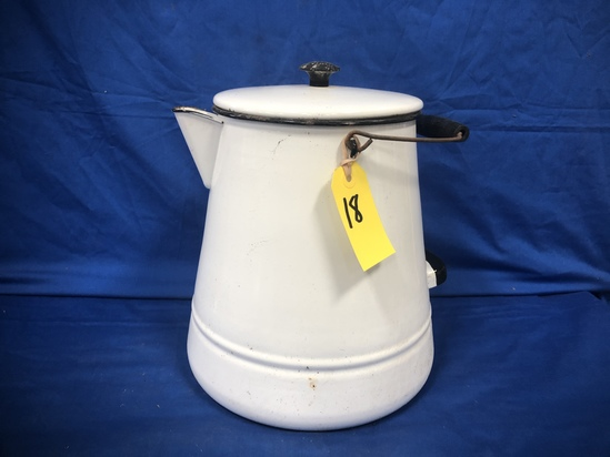 LARGE WHITE ENAMEL COFFEE POT