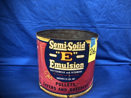 "25# SEMI-SOLID ""E"" EMULSION BUTTERMILK & VITAMINS CAN"