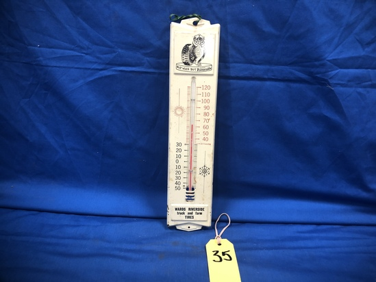 WARDS RIVERSIDE TRUCK & FARM TIRES TIN THERMOMETER
